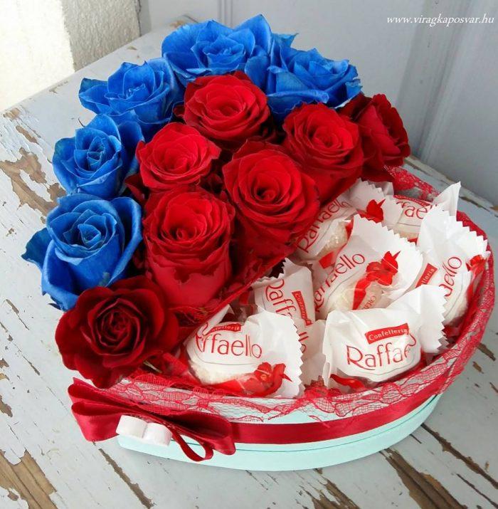 Virágdoboz egyszínű rózsával, Raffaellóval