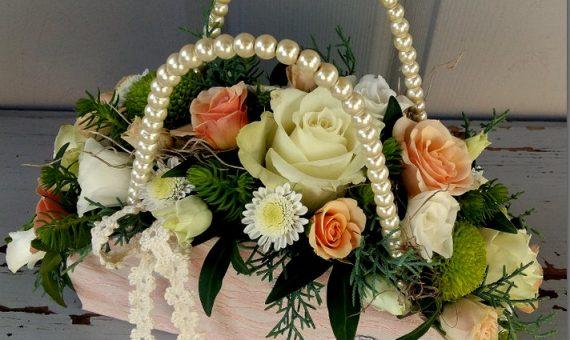 Virágridikül rózsaszín-csipke