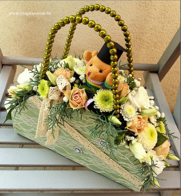 Ballagási virágridikül macival