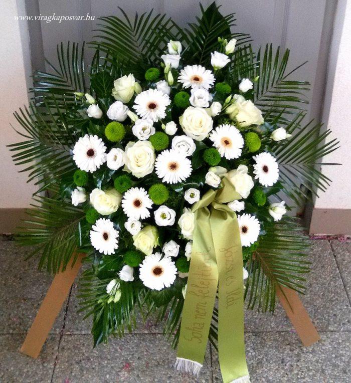 Állókoszorú vegyes fehér virágokból