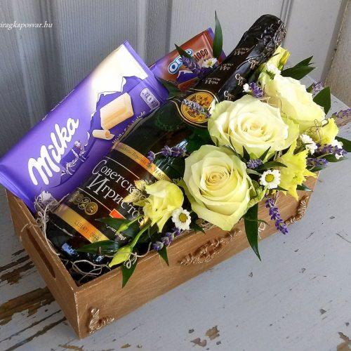 Rusztikus virágláda pezsgővel-csokikkal
