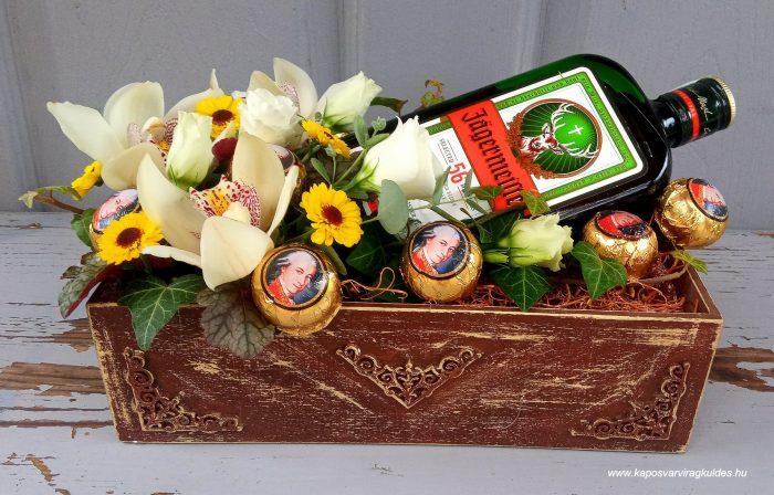 Virágláda Jagermeisterrel, Mozart csokikkal