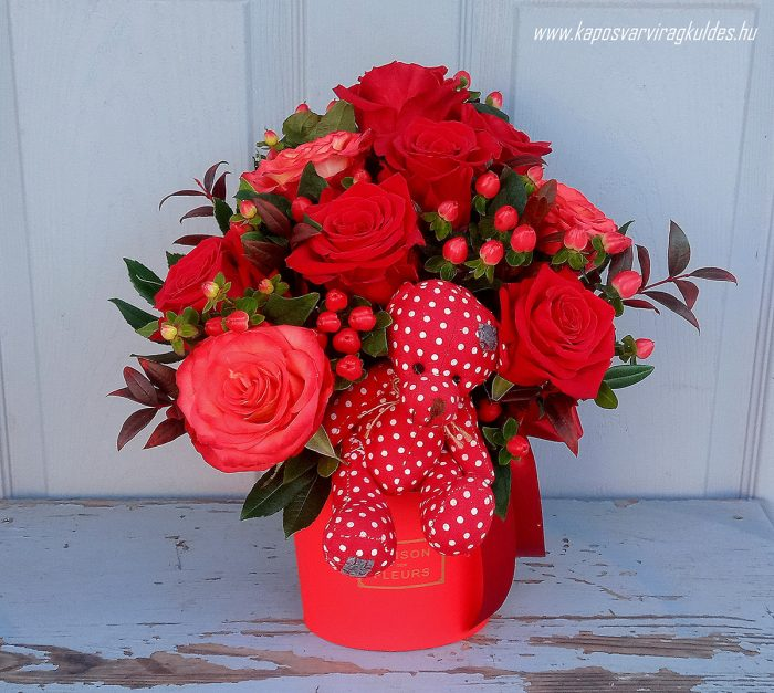 """""""Búj hozzám """" Vörös rózsás macis virágdoboz 3006"""