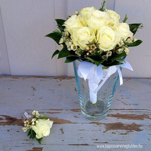 Menyasszonyi csokor vőlegény kitűzővel fehér színben 6001