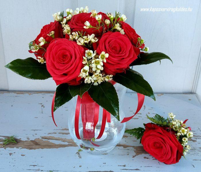 Menyasszonyi csokor vőlegény kitűzővel vörös színben 6002
